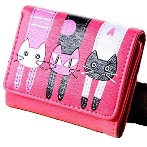 Donna portafoglio-All4you Signore Trifold Portafoglio moneta corta borsa Multi Card Holder con Cartoon Lovely pattern cat (rosa) Rosa3