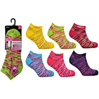 6 Pairs Ladies Prohike Cushioned Low Cut Breathable Ankle Trainer Socks For Casual Running Walking Fitness Outdoor Sports Multicolour UK size 4-8