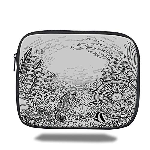 air 2/3/4/mini 9.7 inch,Aquarium,Graphic Coral Reef with Sea Horse Ocean Fish and Sunken Ship Line Art Drawing Decorative,Black and White,Bag ()