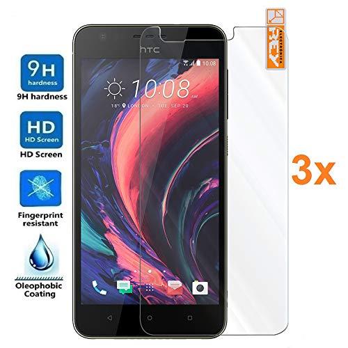 König Pack 3X Panzerglas Schutzfolie für HTC Desire 10 Lifestyle 5.5, Bildschirmschutzfolie 9H+ Härte, Anti-Kratzen, Anti-Öl, Anti-Bläschen