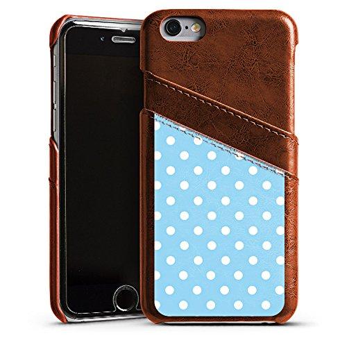 Apple iPhone 5 Housse Étui Protection Coque Points Motif bleu blanc Polka Étui en cuir marron