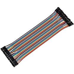 Ganvol 40câbles DE 20cm - Femelle vers Femelle - sans Soudure - Flexibles - pour Platine d'expérimentation Arduino, Raspberry Pi Modèle A/Modèle B 11+ 23/Module d'ordinateur/Zero