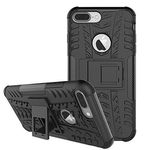 Nadakin Apple iphone 7 Plus Hülle Schutzhülle Hybrid Rugged Phone Case Stoßfest Handys Schutz Cover mit eingebautem Kickstand Shockproof für Apple iphone 7 Plus (Rot) Schwarz