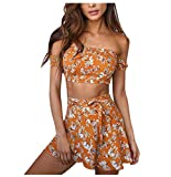 Bekleidung Longra 2 Stück Set Damen Sommerkleid Vintage Boho Beach Blümchen Kurz Bluse + Rock Blumenkleid Strandkleider (S/34, Yellow)