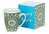 Tee-Tasse Teebecher Set mit Teesieb (Edelstahl) und Deckel Porzellan Teetasse mit Sieb Geschenk-Tasse Blumen Cup with tea infuser 320 ml von DUO 3teilig in Geschenkbox Becher Geschenkset (Tribal)