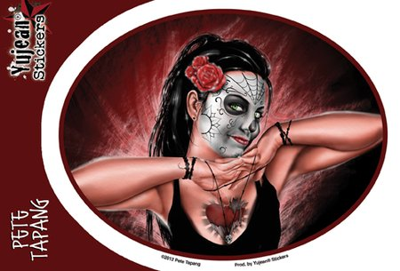 """Pete Tapang Hands of Death Sugar Skull Pinup PIN-UP decalcomania Sticker Decal - 6"""" x 4.5"""" Die-Cut - Weather Resistant, Long Lasting for Any Surface"""