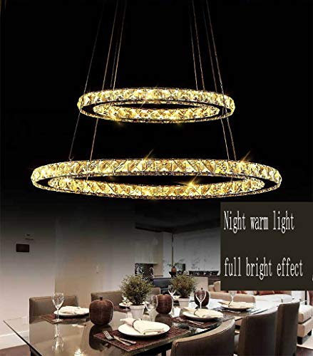 Kleine Messing Poliert Foyer-anhänger (Elliptical Ring Kronleuchter, LED Edelstahl kreative Kristalllampe WHITE/WARM/NEUTRAL Light50 + 30CM Schlafzimmer Esszimmer Dekoration Beleuchtung-warmlight)