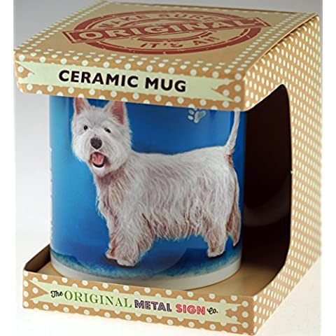 Bianco West Highland Terrier Character Quote Tazza in confezione regalo