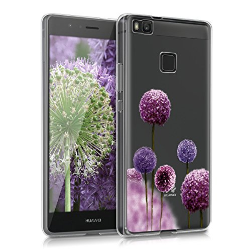 kwmobile Hülle für Huawei P9 Lite - TPU Silikon Backcover Case Handy Schutzhülle - Cover klar Blume Kugel Design Pink Violett Transparent