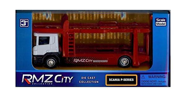 RMZ City Model 1//64 Scania truck Car Carrier Trailer Transporter White Color Red