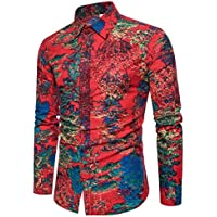 WULIFANG Camiseta Hawaiana Verano Hawaiano Camisa Casual Plus Hombre De Manga Larga Camisa De Flores Rojo L