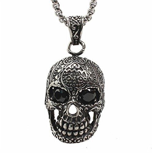 ge Schädel Kopf Titan Edelstahl Granat Mosaik Punk Pentdant Halskette mit Kette (Halloween-schädel-schablonen)