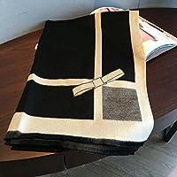 Costura de doble cara imitación cachemira bufanda mantón , Black