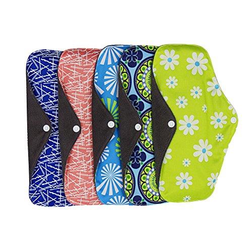 Yardwe Damenbinden Waschbar Wiederverwendbar Bambuskohle Stoff Menstruation Pads Slipeinlagen 25x18cm 5 Stück (Zufällige Farbe) -