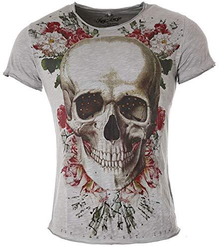 Key Largo Herren Skull T-Shirt Bright Smile Totenkopf Print Motiv Vintage Look Shirt tiefer Rundhals Ausschnitt taillierte körperbetonte Passform MT00192, Grösse:3XL, Farbe:Grau (Promotion T-shirts)