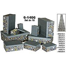 DRW Set 10 Cajas de cartón Decorada de Colores.Surtida de tamaños