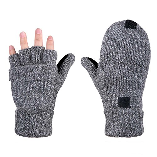 AOKAY Winter Handschuhe Fingerlose Fäustlinge Damen Fingerhandschuhe Fingerlos Handschuhe Strick Handschuhe mit Flip Top (Vintage-Grau)