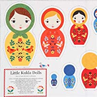 Robert Kaufman Tela Blanca con Patrones muñecas Rusas Colores Little Kukla Dolls