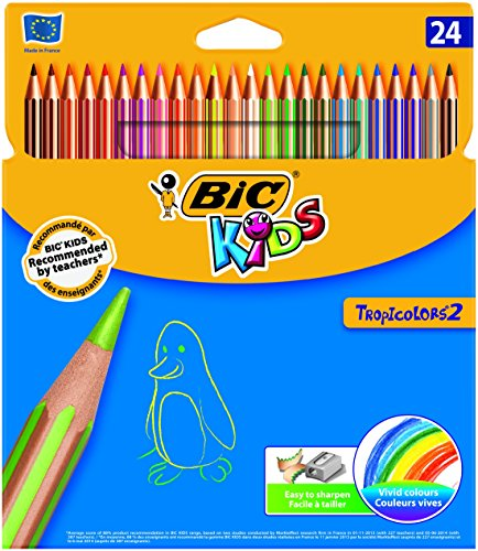 BiC Kids Tropicolors - Pack de 24 lápices de colorear, multicolor