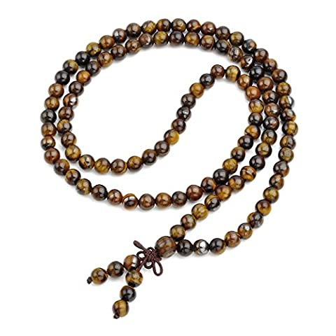 JSDDE Unisex 108 Natural Gemstone Buddha Prayer Beads Mala Bracelets Buddhist Rosary Necklace(6mm Tiger Eye)