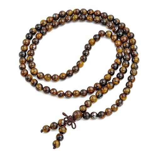 QGEM Schmuck Healing 108 Perlen Buddha-Armband Buddhistische Tibetische Gebetskette Edelstein Yoga Buddha Mala Kette Halskette/6mm-Tigerauge