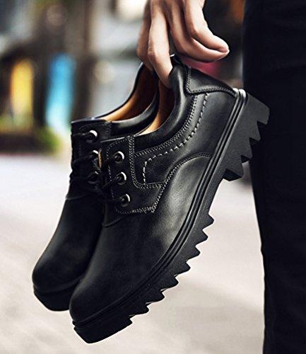 Yiiquan Homme Automne Hiver Chaussures PU Cuir Casual Classiques Tête Ronde Plat Chaussure à Lacets Noir