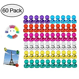 Wukong 60 Pieces Colour Strong Fridge Magnets Whiteboard Magnets Magnetic Push Pins for Map, Office, Whiteboard, Refrigerator, Map & Calendar