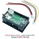Anjuley Voltmetro Digitale Amperometro DC100V 10A Pannello Amp Volt Voltmetro Tester