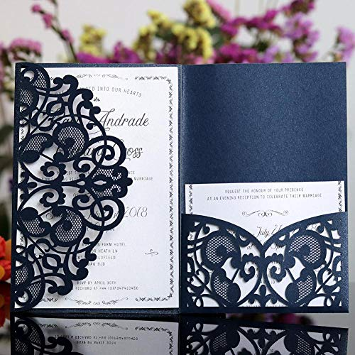 10 STÜCKE Laser Cut Hochzeitseinladungen Karten Tri-Fold Spitze Business einladung Karten Party Dekoration Baby Shower Einladung Karten