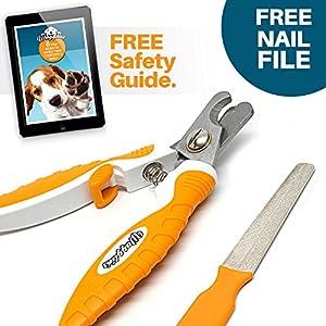 Coupe ongles professionnel pour chiens petit moyen et grand offert avec une Lime à ongle et un Guide pour vous apprendre à couper les griffes de votre chien.