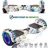 CHIC Hoverboard Électrique 6.5 Pouces avec Fonction Bluetooth et LED Skateboard Électrique Auto-Équilibrage, Puissance 2*350W, Autonomie Maximale 15km,Sac de Transport, Télécommande offerts (Blanc)