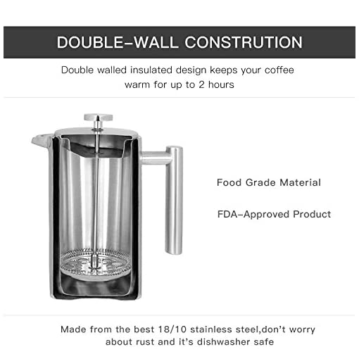 X-Chef Double Walled Stainless Cafetiere French Press Coffee Maker