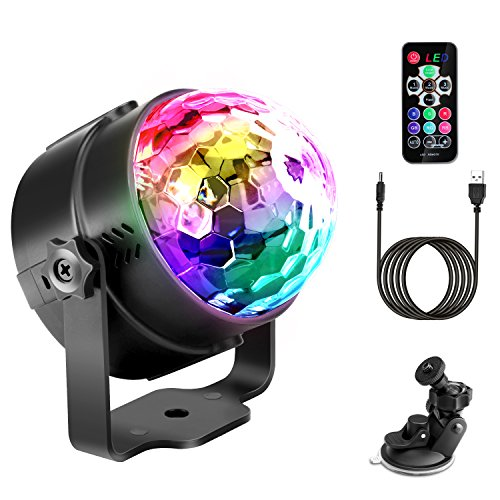 Discokugel Techole LED Disco Lichteffekte Partylicht Discolicht Musikgesteuert Partybeleuchtung mit USB 4M Ladekabel, 7 Farbe RGB Disco Ball...