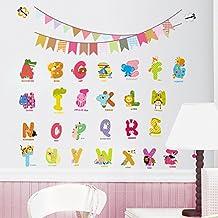 Pegatina de pared adhesivo decorativo animales y letras abecedario multicolor