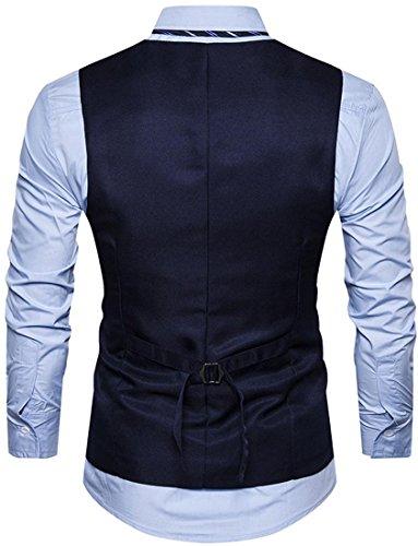 Sportides Uomo Flower Embroidery Slim Fit Waistcoat Gilet Business Gentleman Vest Suits Blazer JZA326 Navy