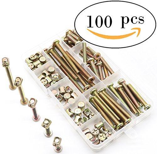binifiMux Schrauben-Set für Krippen, 50 Stück (100 Stück) M6 Möbel-Schaftmuttern Sortiment Kit, Sechskant-Stecknuss M6 x 20 mm / 30 mm / 40 mm / 50 mm / 60 mm Krippenbolzen Zylindermutter