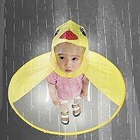 Niños Impermeable OVNI Paraguas Sombrero Manos Libres Transparente Impermeable Impermeable Animal Impermeable (Amarillo, L)
