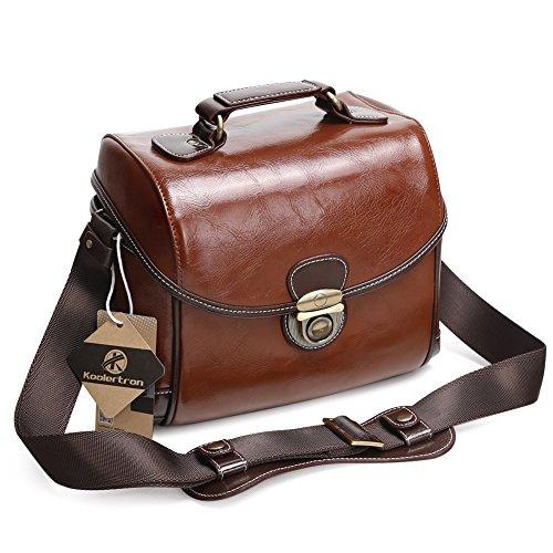 Koolertron DSLR Borsa per Camera Vintage Impermeabile Messenger Bag per Canon Sony Nikon Canon Olympus ecc. - Marrone