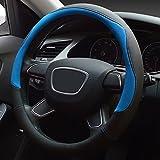 XuanMax Universal Funda de Volante Coche Cuero Microfibra Respirable Cubre Volante Piel Vehiculo Cubierta del Volante Envoltura Protectora Antideslizante Auto Empalme Golpear el Color Steering Wheel Cover 38cm - Azul