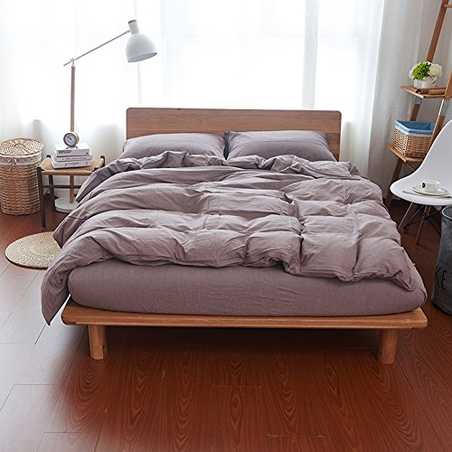 adyonline Chambray Bettbezug Farbe 3 PCS Stone Washed Bettwäsche-Set 280thread Zählen natur Faltig Look --- entspanntes & Soft Feel, baumwolle, coffee, King Size:90