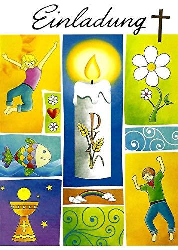 Einladungskarten Kommunion Junge Mädchen mit Innentext Motiv Kerze 10 Klappkarten DIN A6 im Hochformat mit weißen Umschlägen im Set Einladung Kommunion Mädchen Kommunionskarten mit Kuvert K195