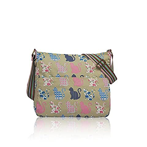 Cute Kitty Cat Patterned Canvas Crossbody Messenger Bag (Beige)