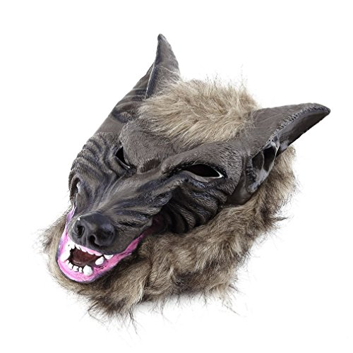 song rong Latex Tier Wolf-Kopf-Maske mit Haaren Naturgetreue Wolf-Kopf-Schablonen für Kostüm-Party Scary Halloween