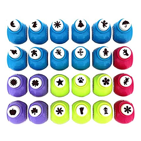 Large 24 Piece Craft Paper Punch Set by Curtzy - Scrapbook Paper Cards Crafts Punches Card Making Scrapbooking Supplies Shape Cutter Cutters - Ideal for Cutting Flowers Snowflake Star Bird