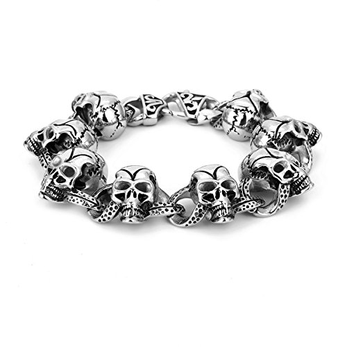Preisvergleich Produktbild APE7® A292 Biker Edelstahl-Armband mit 8 Schädeln Skull Totenkopf Farbe Silber Poliert Gothic Punk