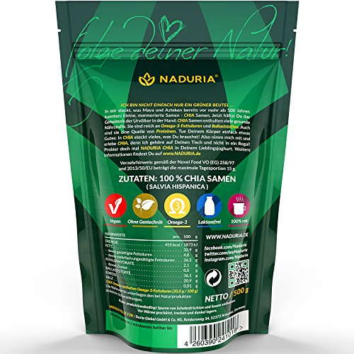 Naduria Premium ganze schwarze Chia Samen 5 x 500 Gramm