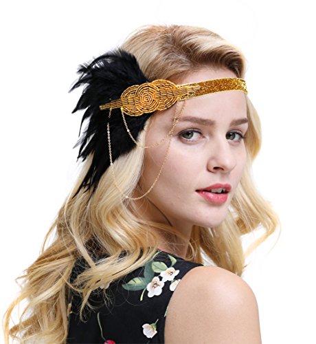 FAIRY COUPLE 1920er Retro Kopfstück Flapper Ketten Blumen Haarband Great Gatsby Haar Zubehör(Gold)