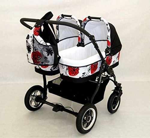 Complete Twin Pram - Carrycots, Chairs and Accessories - Black + Red BBtwin Colour: black + red. Includes 2 carrycots and 2 chairs plus leg cover, carrycot covers, bag backpack, lower basket, 2 plastic rain covers and 2 fly nets. - High-quality pneumatic, swivelling and shock-absorbent wheels. 6