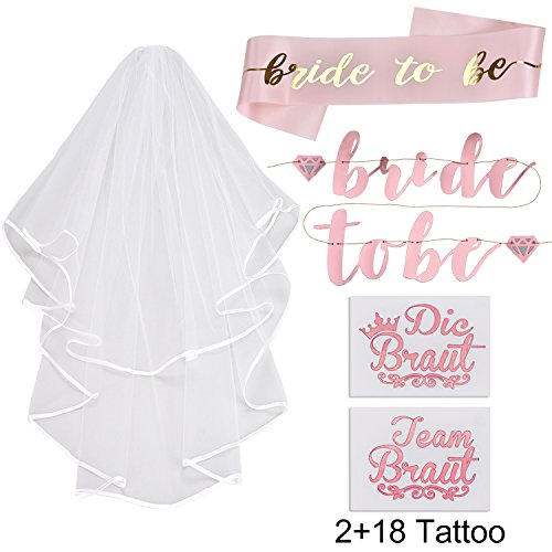 Lelengder JGA deko accessoires für den Junggesellinnenabschied | Banner + Schärpe + weißer Schleier mit Kamm + 20 Tattoos für Braut to be, Team Braut (Günstige Junggesellinnenabschied Kostüm)