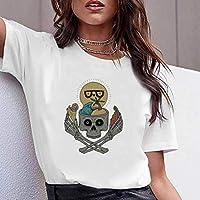 LuoMei Camiseta Estampada Blanca Jersey de Manga Corta con Cuello en o para Mujer Camiseta de Algodón Puro para MujerComo se muestra, l